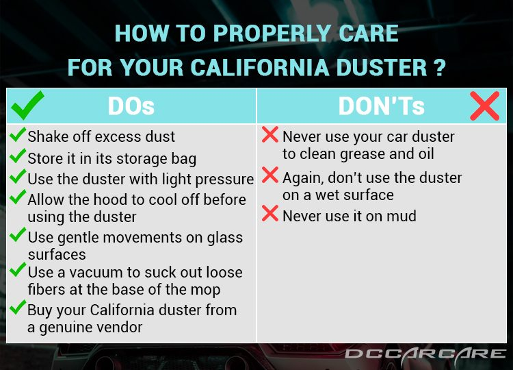 How to care california duster properly